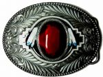 Red Oval 'Stone' and Feathers Belt Buckle with display stand. Code TN3